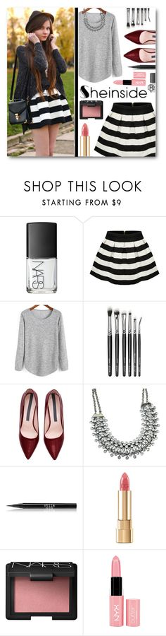"""""""Striped Skirt"""" by tasnime-ben ❤ liked on Polyvore featuring NARS Cosmetics, Stila, Dolce&Gabbana, NYX and Sheinside"""