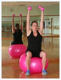 Fit balls are great for pregnancy workout. this arm workout includes biceps curls, tricep kick backs and over head presses while also working on core stability! Click for full workout instructions!