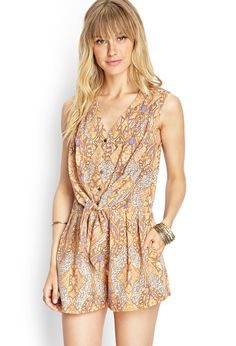 Southwestern Print Tie-Front Romper | FOREVER21 #F21Contemporary #SummerForever #F21xMe