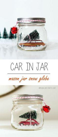 Mason Jar Crafts for Christmas: Red Volkswagen Beetle Snow Globe in Mason Jar