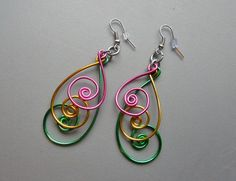 Items similar to BOLD Peacock Blue Pink Magenta Purple Gold Aluminum Thick Wire Long Earrings on Etsy Wire Earrings, Etsy Earrings, Peacock Earrings, Purple Gold, Green And Gold, Handcrafted Jewelry, Earrings Handmade, Aluminum Wire Jewelry, Bijoux Fil Aluminium