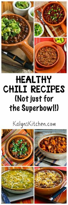 All my favorite Healthy Chili Recipes collected into one post. These delicious chili ideas aren't Just for the Superbowl!  [found on KalynsKitchen.com]