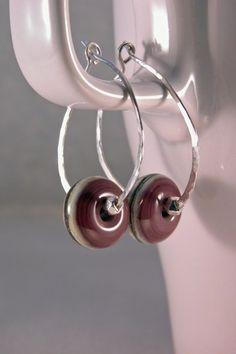#Handmade #earrings, purple ivory lampwork, handmade glass beads, handmade sterling hoops @cserpentDesigns