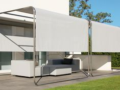Stainless steel gazebo with sliding cover ShangriLa by April Furniture | design Florian Asche