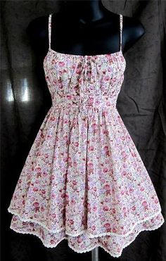 Cecico Modcloth Floral Dress Sundress Corset Lace Up Tiered Sexy Lolita EGL S | eBay $49.99