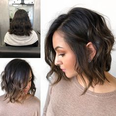 Wavy-Lob-for-Girls Best Wavy Bob Hairstyles You will Like - gewellter Haarschnitt Wavy Bob Haircuts, Short Hairstyles For Women, Wavy Hairstyles, Short Brunette Hairstyles, Short Wavy Bob, Short Hair Cuts, Long Bob, Short Pixie, Pixie Cuts