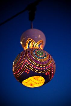 I saw these gourd lights at a restaurant in Istanbul.So I search the net on how to make them.Simple enough.I love it! - Click image to find more Gardening Pinterest pins