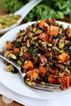 """Caramelized Sweet Potato and Kale Fried Wild Rice is a flavor-packed side dish that is anything but forgettable! To Veganize use veggie stock and vegan """"butter"""" Would love to make this the vegetarian way! Veggie Dishes, Veggie Recipes, Whole Food Recipes, Cooking Recipes, Healthy Recipes, Wild Rice Recipes, Vegan Side Dishes, Recipes With Kale, Fall Vegetarian Recipes"""