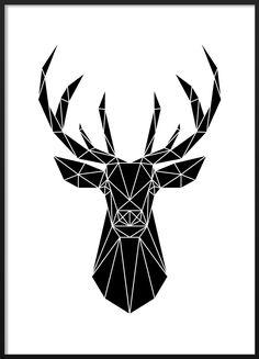 Black and white geometric deer poster #blackandwhite #modern #scandinavian #interior #geometric #deer #illustration #poster