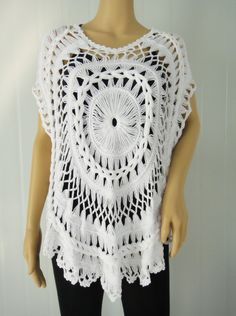 Hairpin Crochet White Womens Sheer Tunic por Tinacrochetstudio