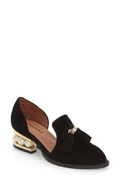 Free shipping and returns on Jeffrey Campbell 'Civil' Pearly Heeled Beaded Tassel Loafer (Women) at Nordstrom.com. The classic suede loafer gets a spirited makeover with a d'Orsay profile and a goldtone horseshoe heel punctuated with oversized pearly beads. Twin suede tassels at the instep complete the playful look.