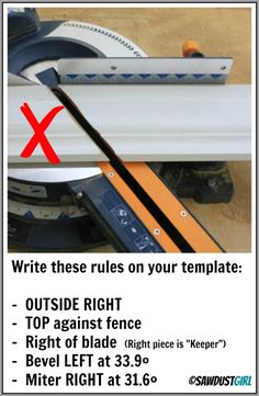 """crown molding made simple with templates - http://sawdustgirl.com OUTSIDE RIGHT, 38degree crown moulding Template.  Remember that your saw is set to bevel left at 33.9 degrees and the molding lays flat — for all these cuts. *The """"bevel"""" is the vertical tilt."""