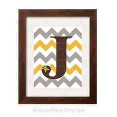Chevron Monogram Letter Initial Print boy colors by YassisPlace