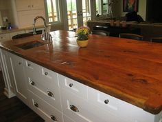 Reclaimed wood kitchen counter