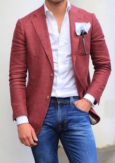 latest trends : mens fashion ideas мода, мужской стиль, с Blazer Outfits Men, Mens Fashion Blazer, Suit Fashion, Red Blazer, Men's Outfits, Womens Fashion, Trajes Business Casual, Business Casual Outfits, Casual Suit