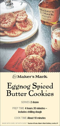 Holiday Recipes If you're looking for some spirited treats this holiday, cooking with Maker's Mark® is almost as good as sipping it. Bourbon has a var. Christmas Sweets, Christmas Cooking, Holiday Baking, Christmas Desserts, Christmas Candy, Christmas Ideas, Galletas Cookies, Holiday Cookies, Candy Cookies