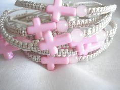 Pink cross bracelet Baptism favors Martyrika Greek by Poppyg
