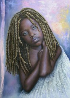 20 Beautiful African Children Paintings By Dora Alis - Fine Art and You - Painting African American Artist, African Artists, Hyper Realistic Paintings, Natural Hair Art, African Children, African Girl, Art Africain, Black Artwork, Afro Art