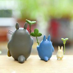 Set My Neighbor Totoro Figurine Holding Leaves Fairy Garden Miniatures Dollhouse Succulent Decor Suppliers - Miniature Jardin