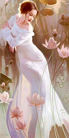 "Svetlana Valueva, ""Water Lily"" I can't even say how beautiful this is. I love the flowing lines, her gentle face, the whites and the pinks and the greens."