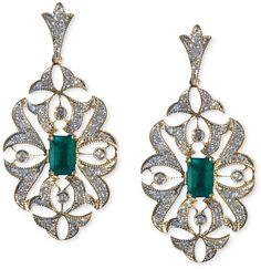 Brasilica by EFFY Emerald (1 ct. t.w.) and Diamond (1/2 ct. t.w.) Drop Earrings in 14k Gold on shopstyle.com