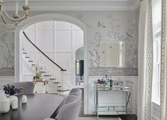 House Tour: Traditional Charm with Morgan Harrison French Dining Chairs, Wooden Dining Tables, Elegant Dining Room, Dining Room Design, Dining Rooms, Silver Chinoiserie Wallpaper, Dining Table Lighting, Harrison Design, Interior Design Inspiration