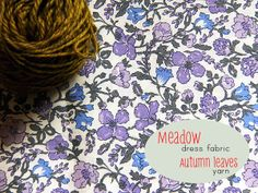 Liberty fabric in mauve, lavender, bluebell, slate grey & yarn in dark antique gold (Posy gets Cozy)