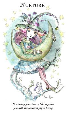 """WITCHLING: NURTURE """"Nurturing your inner-child supplies you with the innocent joy of living."""" The Art of Paulina Cassidy Wicca Witchcraft, Wiccan, Inner Child Healing, Joy Of Living, Witch Spell, Practical Magic, Oracle Cards, Book Of Shadows, Faeries"""