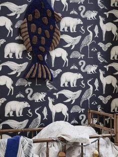 Ferm Living Katie Scott Wallpaper Animals Dark Blue