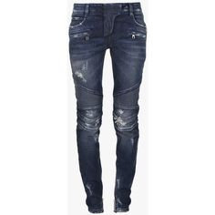 Balmain Trash distressed stretch cotton denim biker jeans (130020 RSD) ❤ liked on Polyvore featuring jeans, pants, bottoms, trousers, balmain jeans, zipper jeans, blue denim jeans, 5 pocket jeans and biker jeans