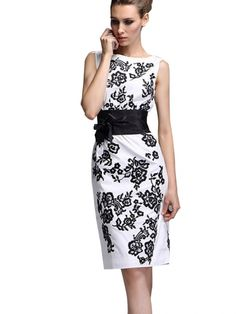 Black White Embroidery Flowers BowKnot Waist Woman Dress