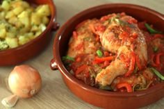 Poulet Basquaise traditionnel One Pot Dishes, Shrimp, Diet, Traditional, Chicken, Cooking, Ethnic Recipes, Desserts, Food