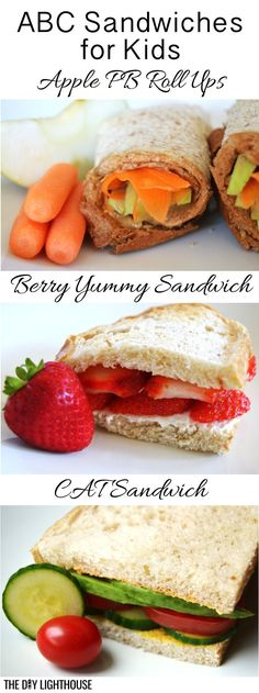 Healthy sandwiches for kids. Back to school ABC sandwich ideas for lunch! Quick and easy!