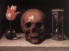Vanitas Still Life with a Tulip, Skull and Hour Glass - Philippe de Champaigne Aragon, Memento Mori, Crane, Philippe De Champaigne, Vanitas Vanitatum, Famous Last Words, Skull And Bones, Skull Art, Vincent Van Gogh