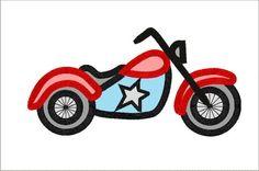 Motorbike Applique Machine Embroidery Design in 4 sizes. $4.00, via Etsy.