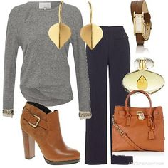great for a casual day at the office - like the loose pants and the gold accessories.