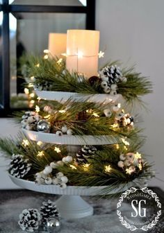 DIY Christmas Centerpieces - Cake Stand Christmas Centerpiece - Simple, Easy Holiday Decorating Ideas on A Budget - Cheap Home and Table Decor for The Holidays - Dollar Store Crafts, Rustic Candles, Pine Cones, Floral Ideas and Mason Jar Craft Projects http://diyjoy.com/diy-christmas-centerpieces