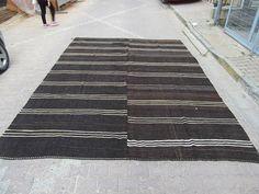 9.9x12.9 Ft Oversized vintage Black/White striped Turkish goat hair kilim rug