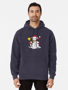 'Snowman with green and red scarf holding yellow broom' T-Shirt by duyvolap Red Scarves, Heather Grey, Pullover, Hoodies, Yellow, Clothing, Sweaters, Cotton, T Shirt