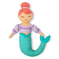 Enjoy the waves and surf with the Mermaid Throw Pillow from Pillowfort. This mermaid doll pillow has a pretty aqua tail with purple shirt and her hair up in an elegant bun.