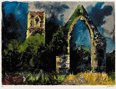 """John Piper Babingley Church, Norfolk (E. England), screenprint (edition of 442 x 594 mm. Sometimes incorrectly known as """"Babingley"""". Edward Hopper, Landscape Art, Landscape Paintings, Landscapes, John Piper Artist, 20th Century Painters, Royal College Of Art, Abstract Painters, Religious Art"""