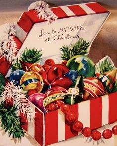 Vintage Christmas Ornaments. Love to My Wife. Retro Christmas Ornaments.
