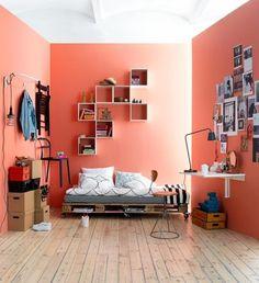 palettenbett jugendzimmer vintage look