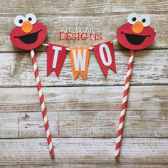 Elmo Birthday Age Cake Bunting Topper - Smash Cake - Sesame Street Party - Red and Orange Elmo Decorations by ArtisticAnyaDesigns on Etsy