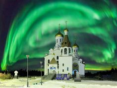 North Lights on Kola Peninsula of Russia. Munchagorsk by night. In terms of diversity of mineral species Kola Peninsula has no analogues in the world. Its territory of about 1000 found minerals - almost 1/3 of all known in the world. About 150 minerals are not found anywhere else.