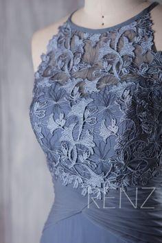 2017 Steel Blue Chiffon Boho Bridesmaid Dress Sweetheart