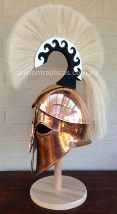 Classic Corinthian/Spartan Style Helmet with High Crest Sparta Helmet, Greek Helmet, Helmet Armor, Ancient Armor, Greek Warrior, Roman Fashion, Total War, Corinthian, Greeks