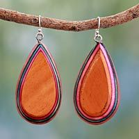 Indian elm wood dangle earrings, 'Joy' - Colorful Modern Style Earrings on Silver Hooks