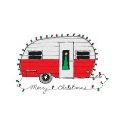 Retro Christmas | Christmas Camper Retro Christmas Card set of 8 by rachelink