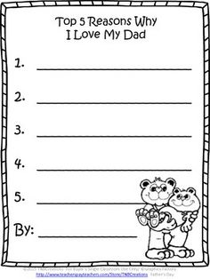 Father's Day FREE: This freebie is a perfect gift for Dad and Grandpa on Father's Day!  In this product you will receive 2 printable worksheets:  Top 5 Reasons Why I Love My Dad Top 5 Reasons Why I Love My Grandpa  Enjoy!